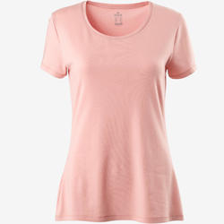 500 Women's Regular-Fit Pilates & Gentle Exercise T-Shirt - Light Pink