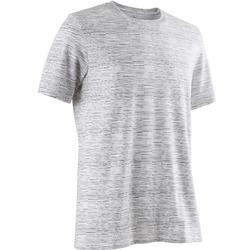 Camiseta 500 regular Pilates y Gimnasia suave blanco AOP hombre