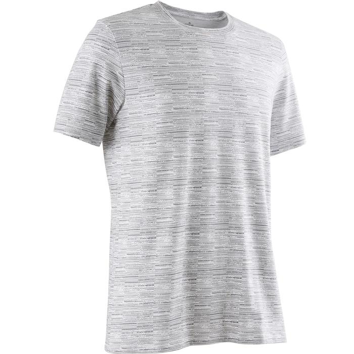 T-Shirt 500 regular Pilates Gym douce blanc AOP homme