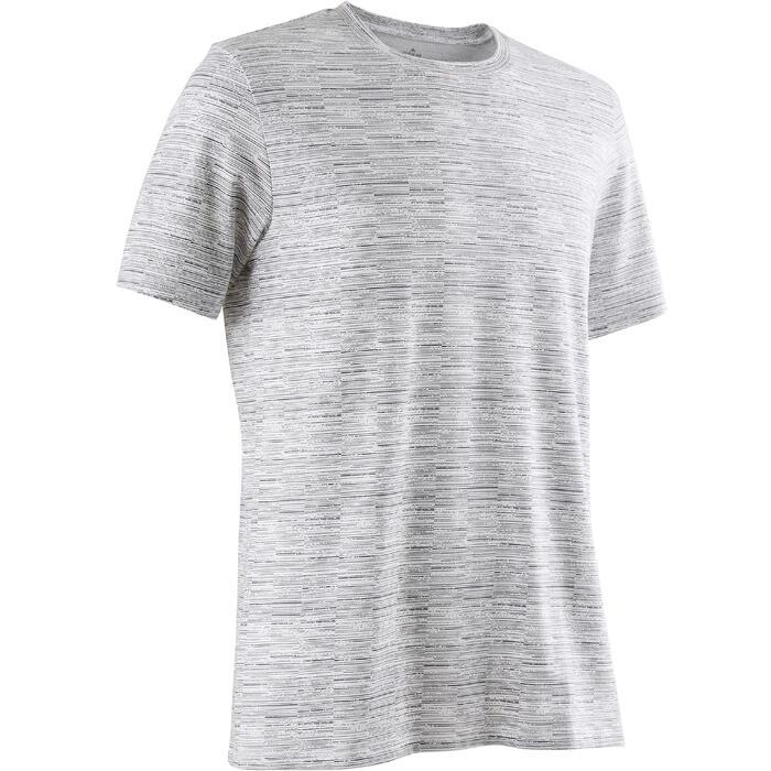 T-shirt 500 regular fit pilates en lichte gym heren wit AOP