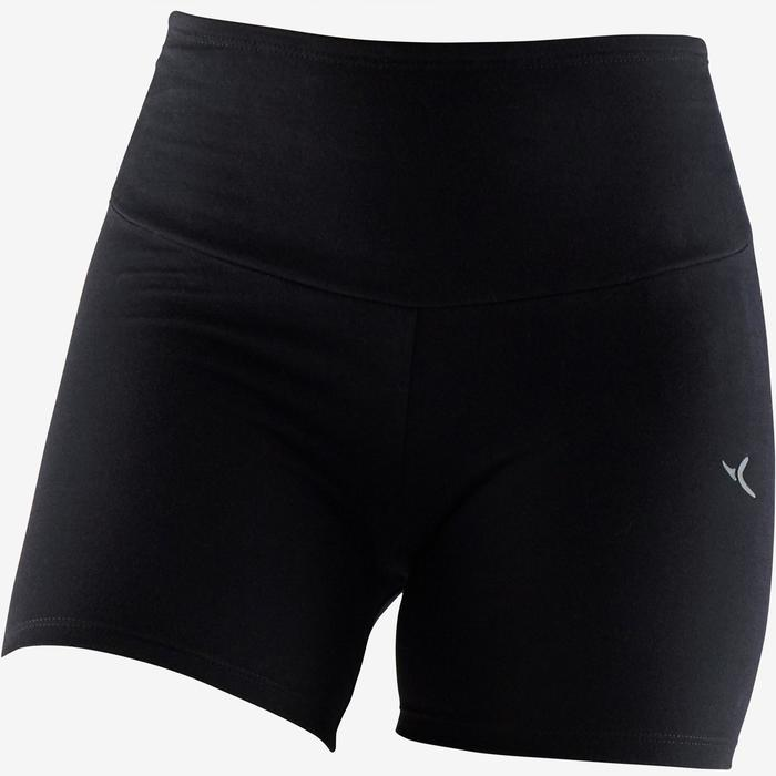 Modellerende short voor pilates en lichte gym dames 900 slim fit zwart