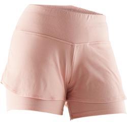 Pantalón Corto Gimnasia y Pilates Domyos 520 Mujer Rosa Claro