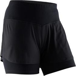 女款溫和健身與皮拉提斯短褲520 - 黑色
