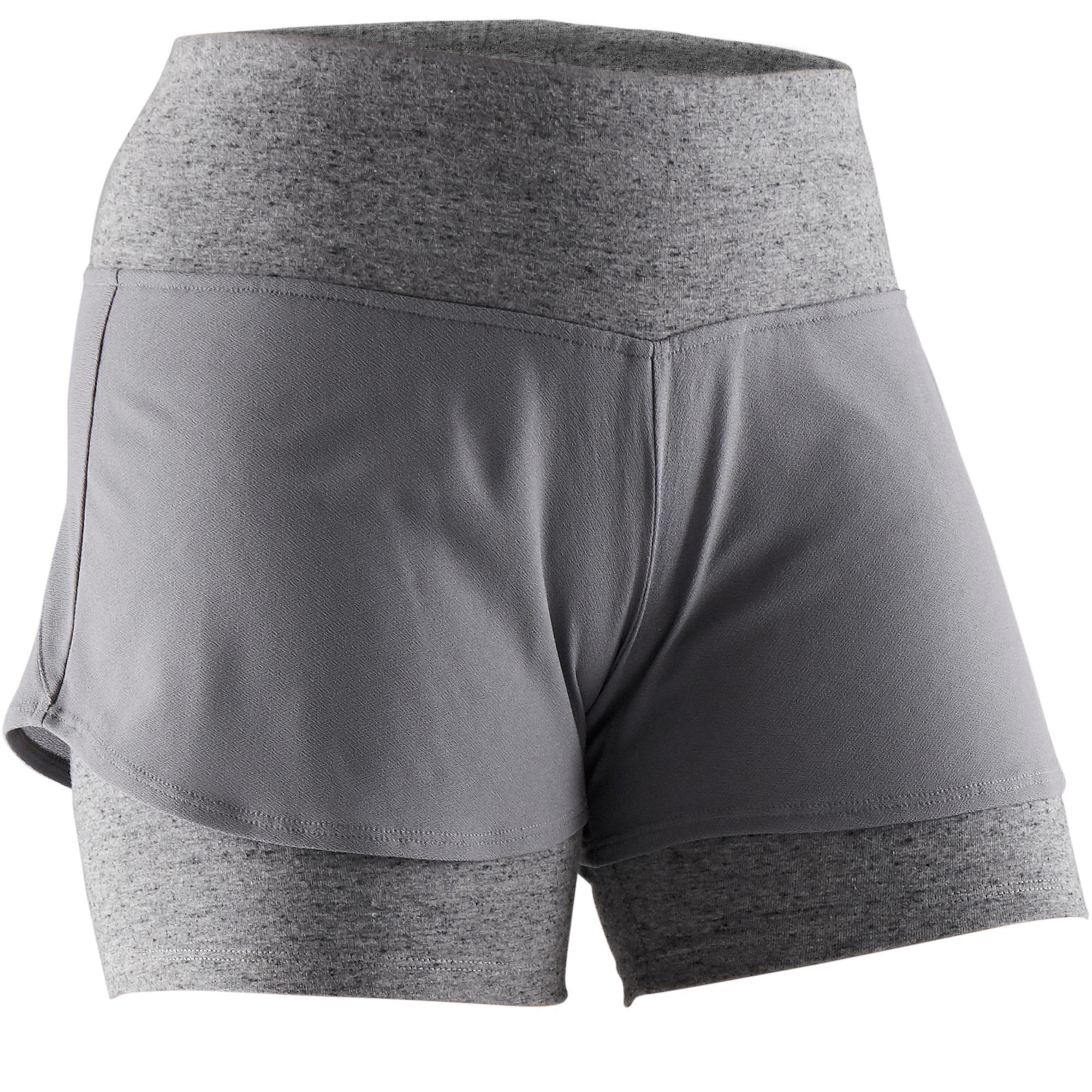 Sporthose kurz 520 Pilates sanfte Gym Damen grau | Sportbekleidung > Sporthosen > Sonstige Sporthosen | Grau | Domyos