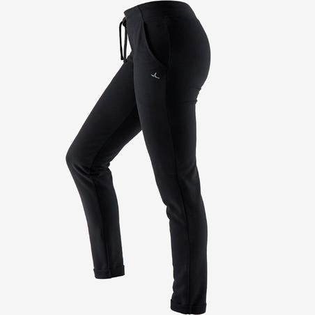 Women's Slim Jogging Bottoms 500 - Black