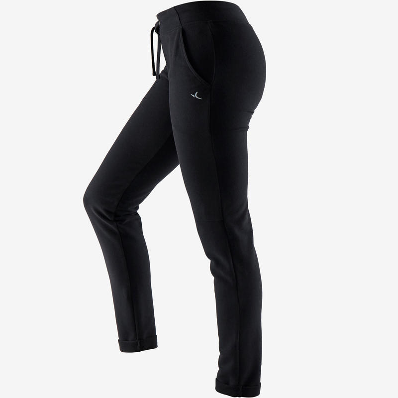 500 Women's Slim-Fit Gentle Gym & Pilates Bottoms - Black