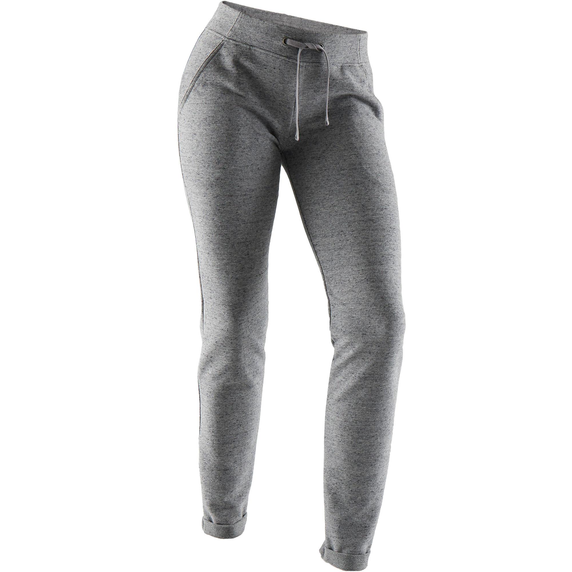 Jogginghose 500 Slim Pilates sanfte Gymnastik Damen grau | Sportbekleidung > Sporthosen > Jogginghosen | Grau | Domyos