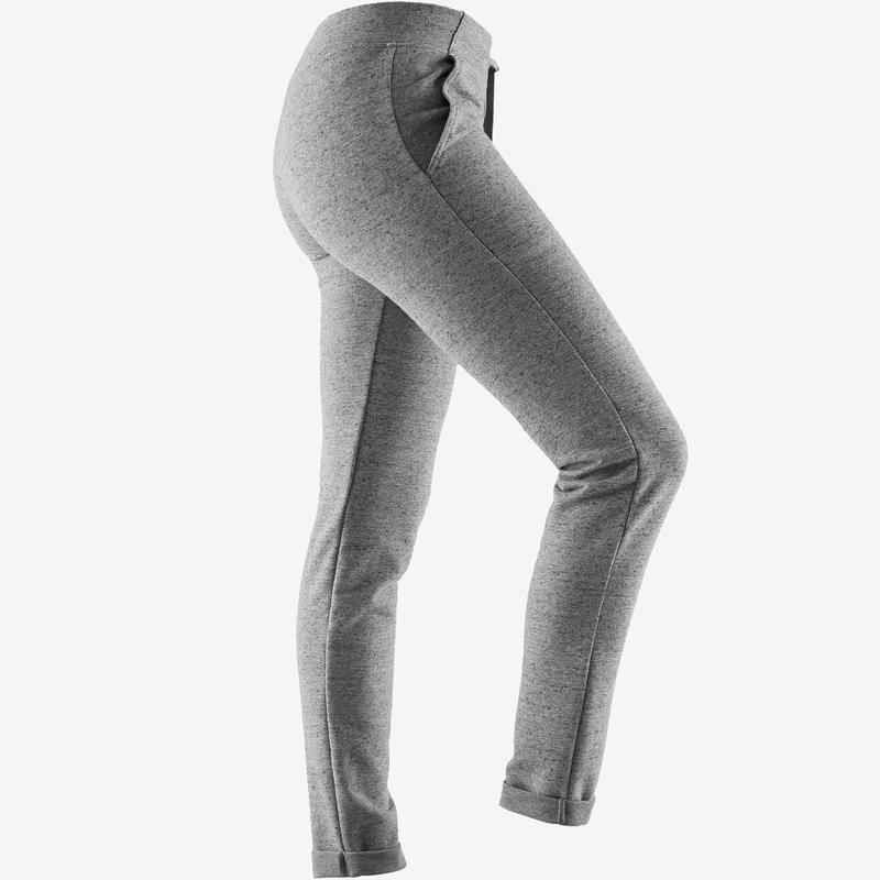 500 Women's Slim-Fit Pilates & Gentle Gym Bottoms - Grey