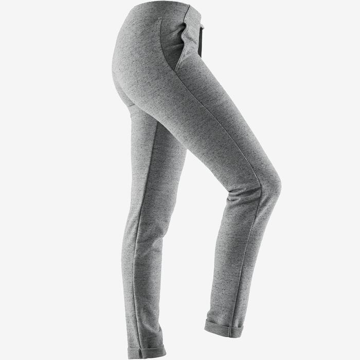 Broek 500 pilates en lichte gym slim fit dames grijs