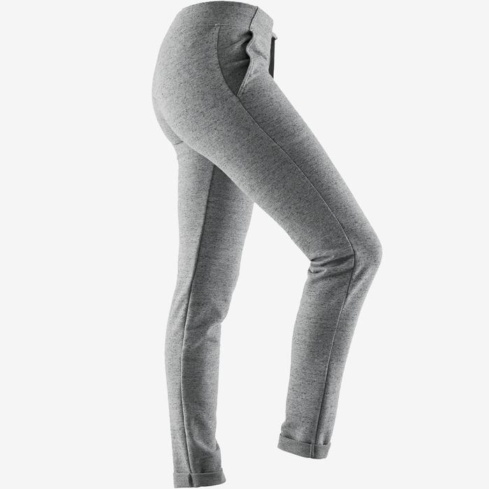 Jogginghose 500 Slim Pilates sanfte Gymnastik Damen grau
