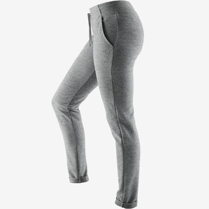 Pantalon 500 slim Pilates Gym douce femme gris
