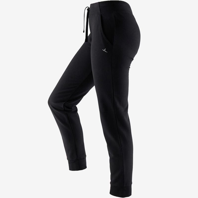 Pantalón 500 regular Pilates y Gimnasia suave mujer negro