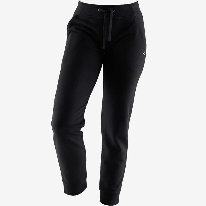 Pantalon 500 regular Pilates Gym douce femme noir