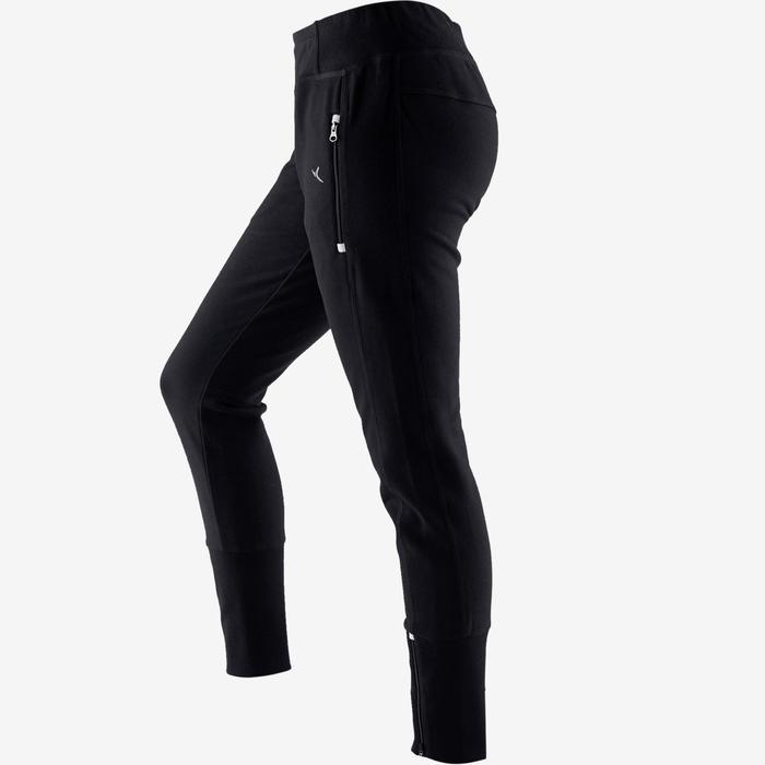 Pantalón 500 heavy cremallera Pilates y Gimnasia suave mujer negro