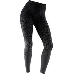Fit+ 500 Women's Slim-Fit Gentle Gym & Pilates Leggings - Black AOP/Dark Grey