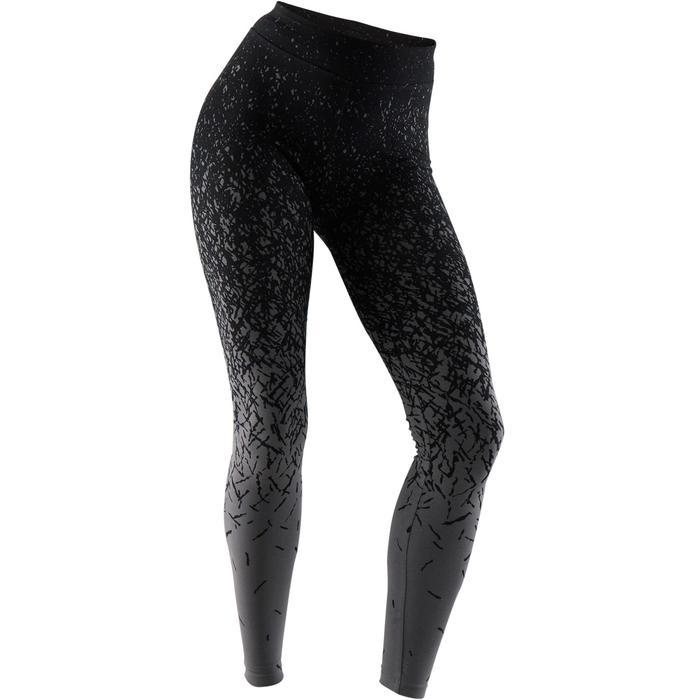 Leggings Fit+ 500 Slim Gym & Pilates Damen schwarz/dunkelgrau