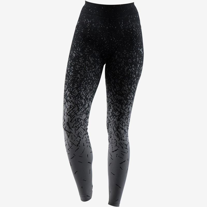 d79b95e3b068 Női legging kímélő tornához, pilateshez Fit+ 500-as, szűkített szárú, fekete