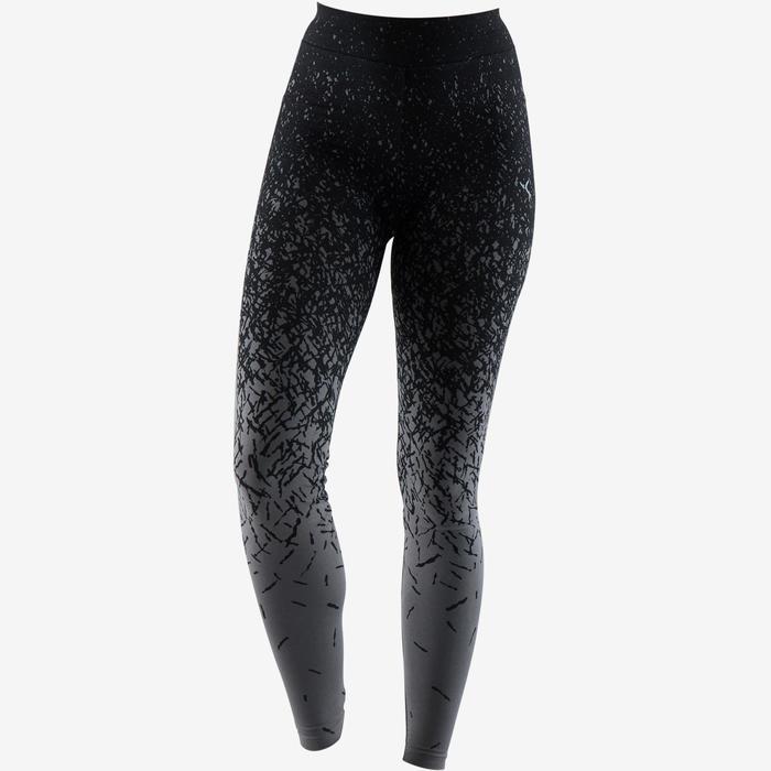 Legging Fit+ 500 slim fit pilates en lichte gym dames zwart AOP donkergrijs