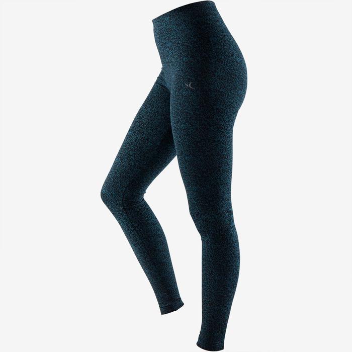 Legging Fit+ 500 slim fit pilates en lichte gym dames turquoise AOP