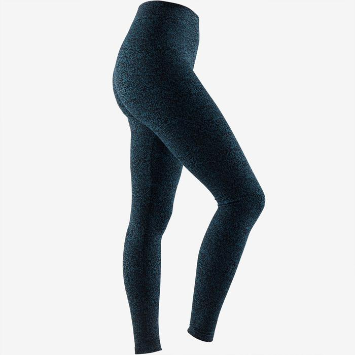 Leggings Fit+ 500 slim Pilates y Gimnasia suave mujer turquesa AOP