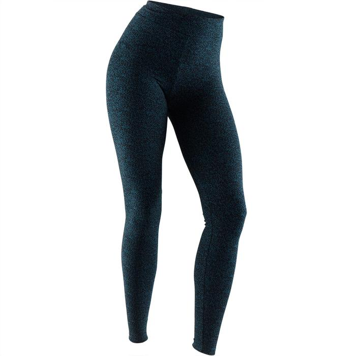 Legging Fit+ 500 slim Pilates Gym douce femme turquoise AOP