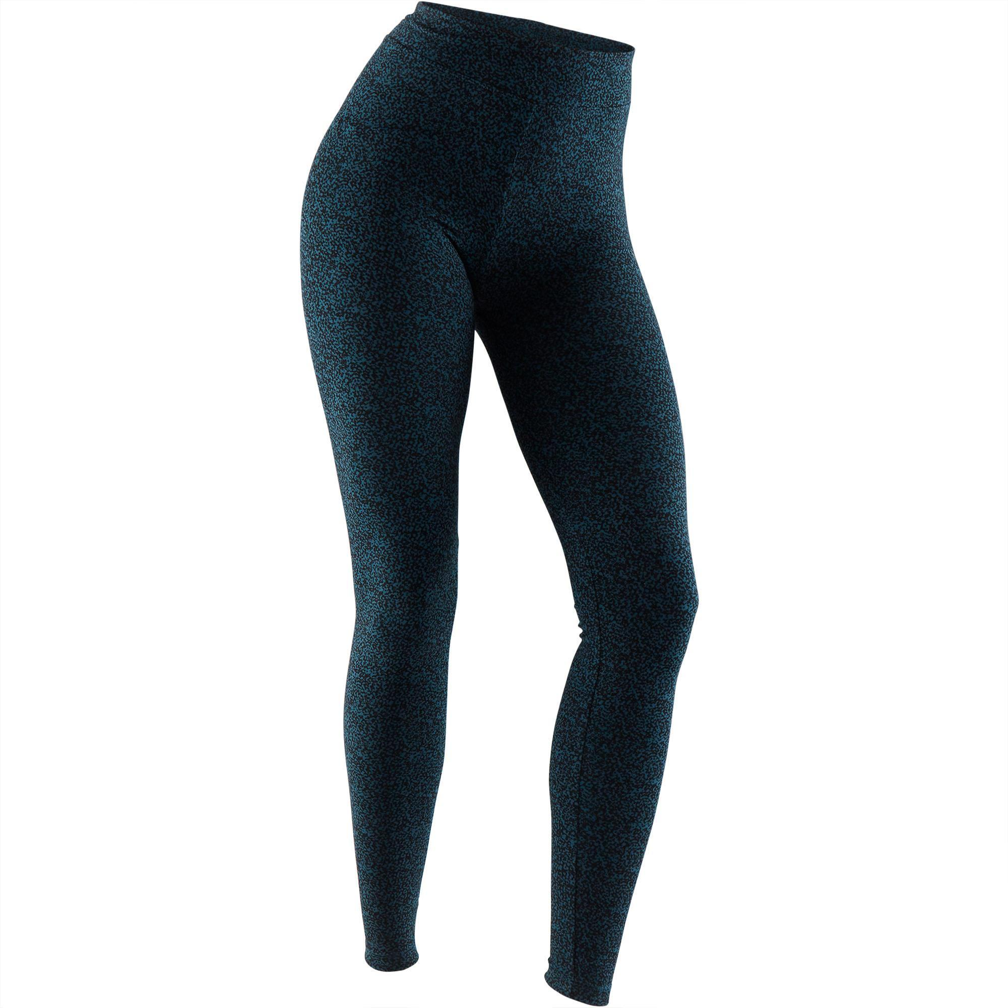Domyos Legging Fit+ 500 slim fit pilates en lichte gym dames turquoise AOP