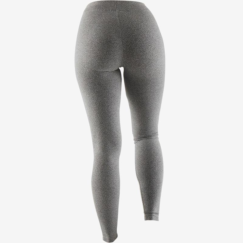 6bc15a5b06ca Női legging kímélő tornához, pilateshez Fit+ 500-as, szűkített szárú, szürke