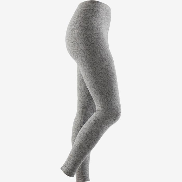 Mallas Leggings Deportivos Gimnasia Pilates Domyos FIT + 500 Slim Mujer Gris