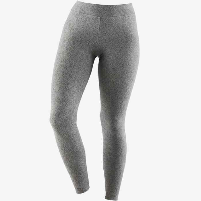 Leggings FIT+ 500 slim Pilates y Gimnasia suave mujer gris AOP