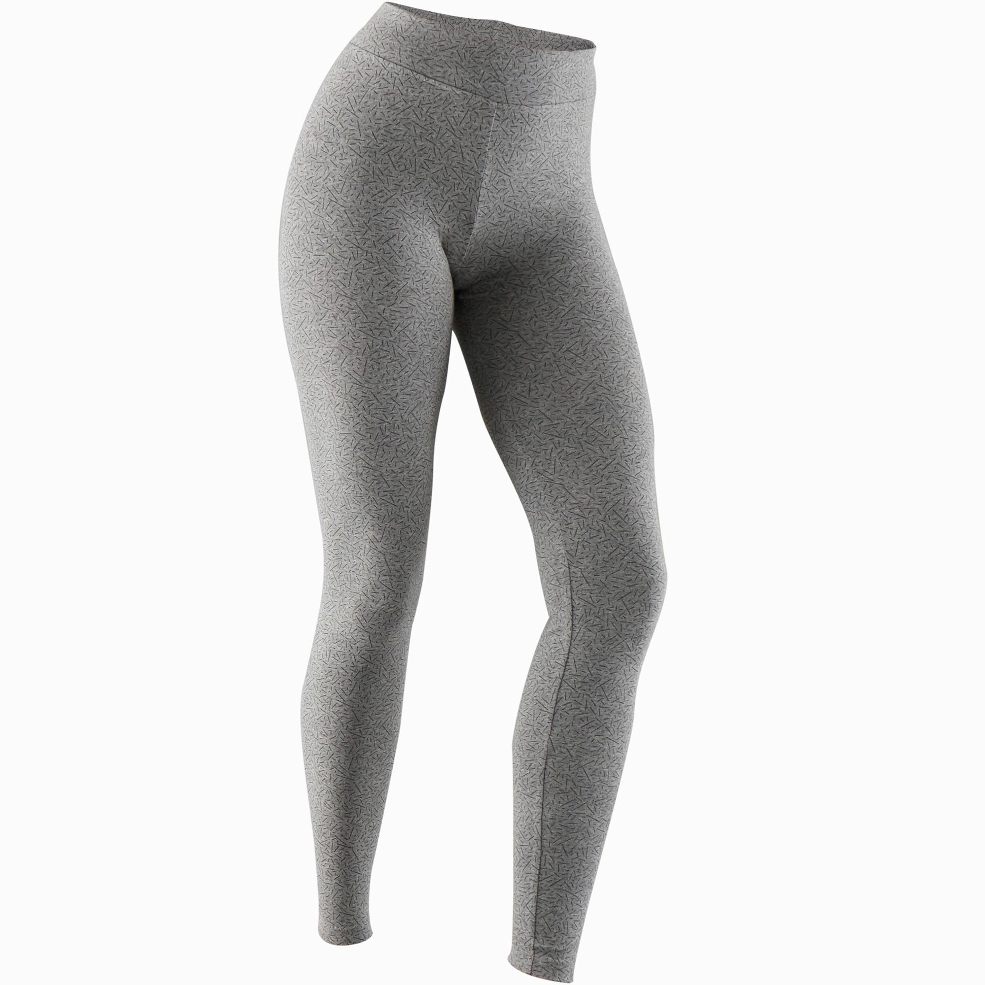 Domyos Legging Fit+ 500 slim fit pilates en lichte gym dames grijs AOP