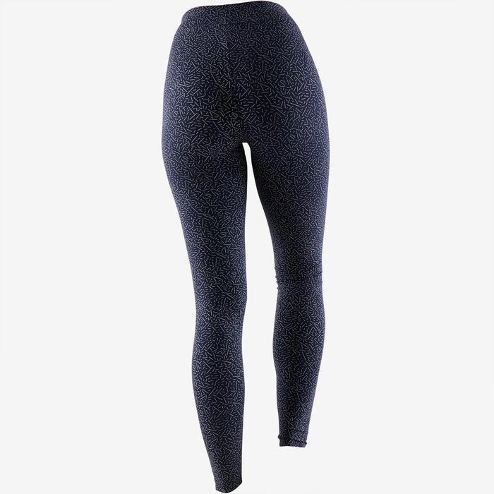 Leggings Fit+ 500 Slim Pilates sanfte Gym Damen marineblau/beige AOP