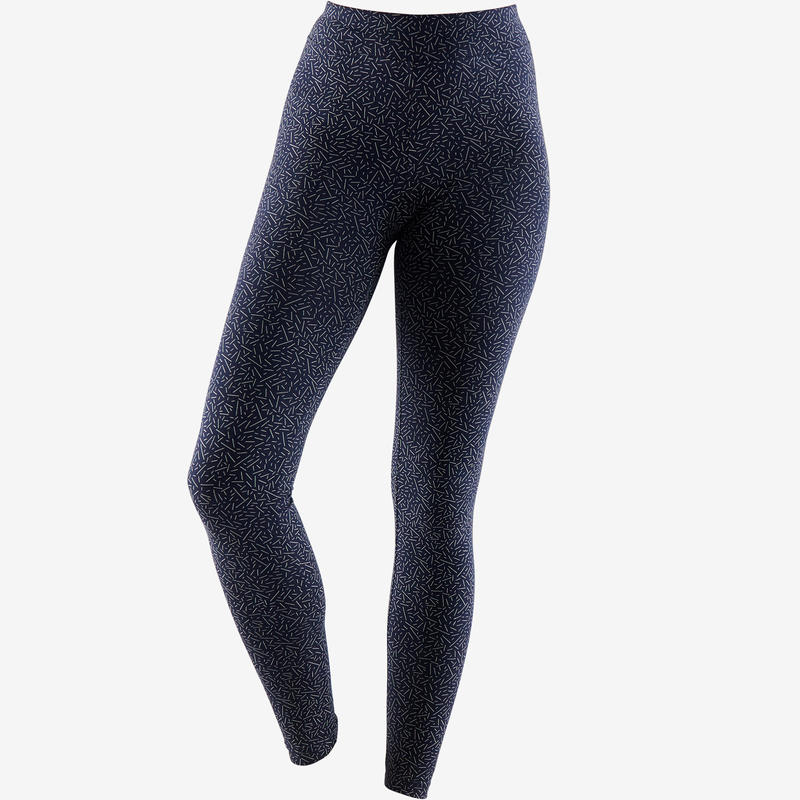 500 Fit+ Women's Slim-Fit Pilates & Gentle Gym Leggings - Navy Blue/Beige
