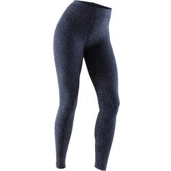 Leggings Fit+ 500 Slim Pilates sanfte Gym Damen marineblau/beige AOP