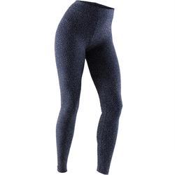 Leggings Fit+ 500 slim Pilates y Gimnasia suave mujer azul marino AOP beige