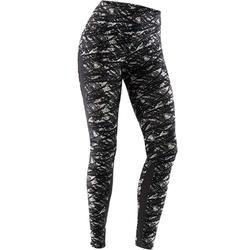 Legging 520 pilates en lichte gym dames zwart beige print