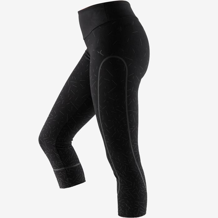 Legging 7/8 560 slim ventre plat et galbant Fitness femme noir ligne metalic