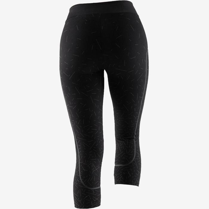 7/8-legging voor dames, voor pilates/lichte gym, slim fit zwart en koper
