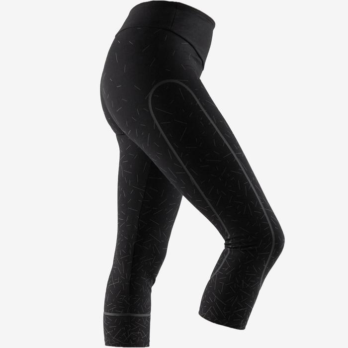 7/8-fitnesslegging dames 560 slim fit platte buik modellerend zwart/metall. lijn