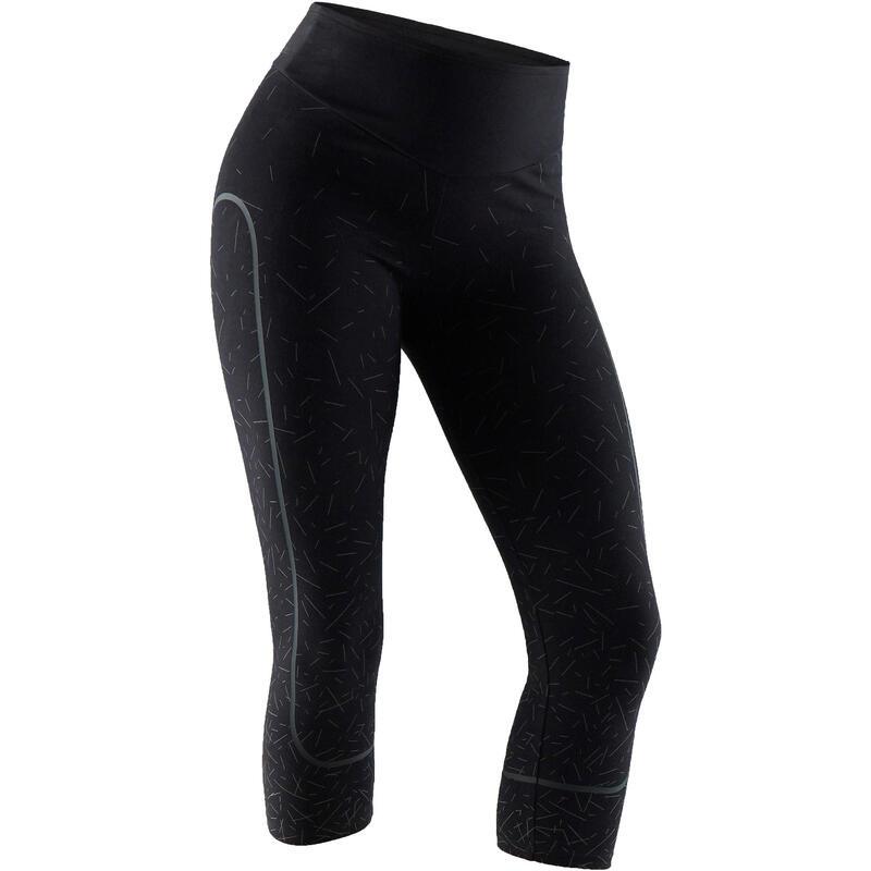 Legging court de sport femme 560 ventre plat et galbant noir