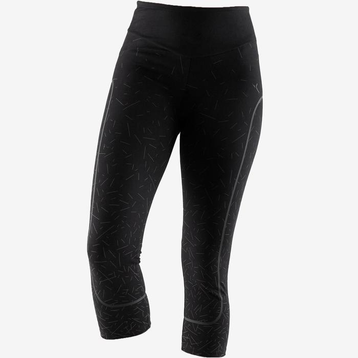 Modellerende legging voor pilates en lichte gym dames slim fit 7/8 zwart