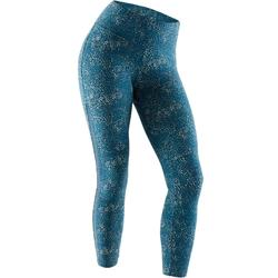 7/8-legging 520 pilates en lichte gym dames turquoise print