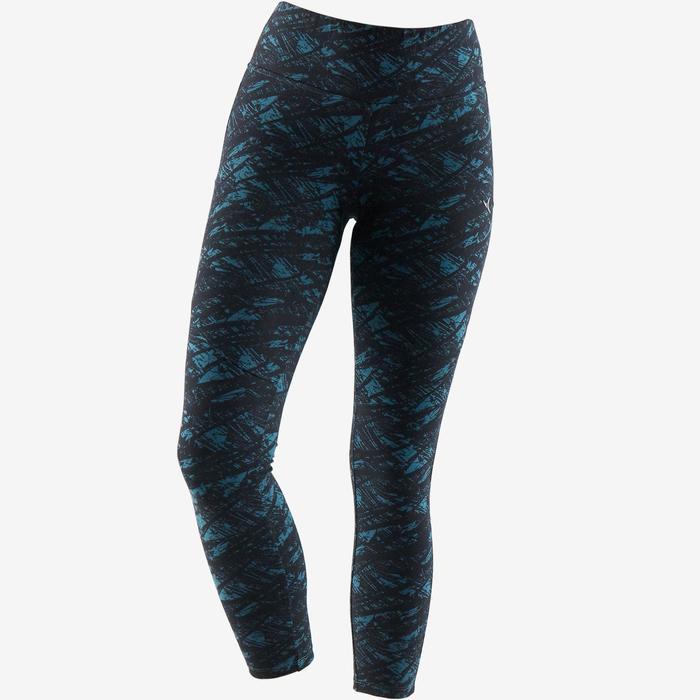 7/8-legging 520 pilates en lichte gym dames zwart turquoise print