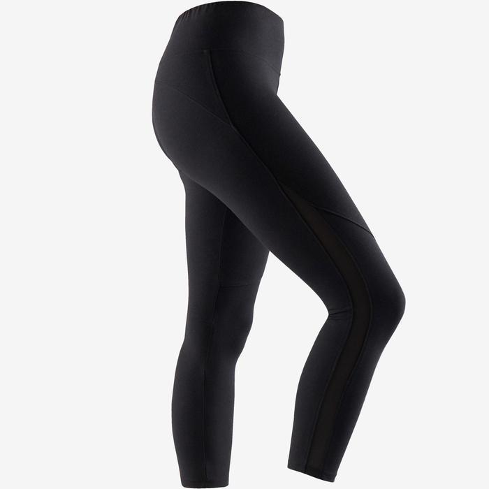 Legging court de sport taille haute 520 femme 7/8 en coton noir