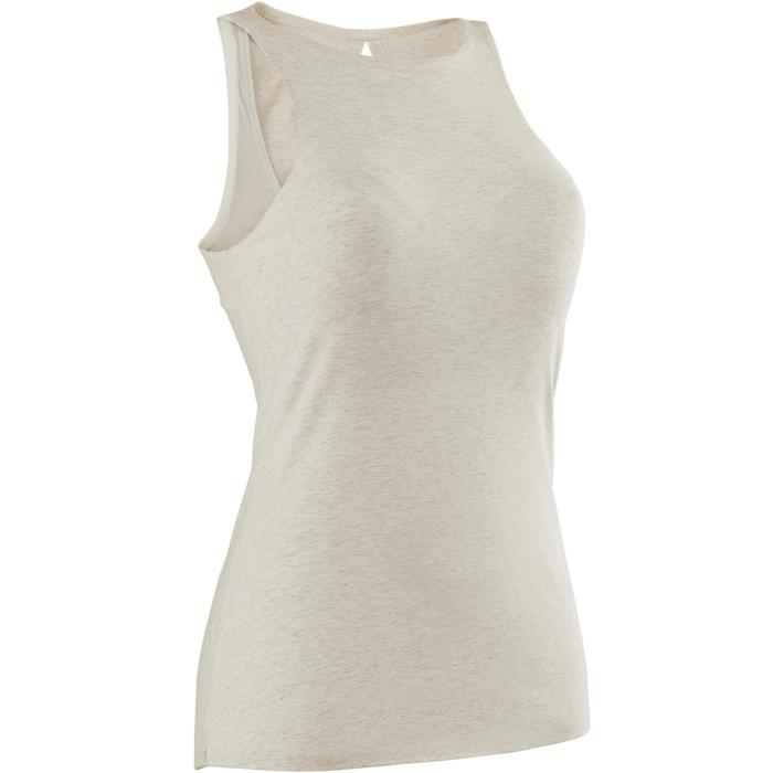 Camiseta Sin Mangas Tirantes Gimnasia Pilates Domyos 560 Mujer Beige Jaspeado