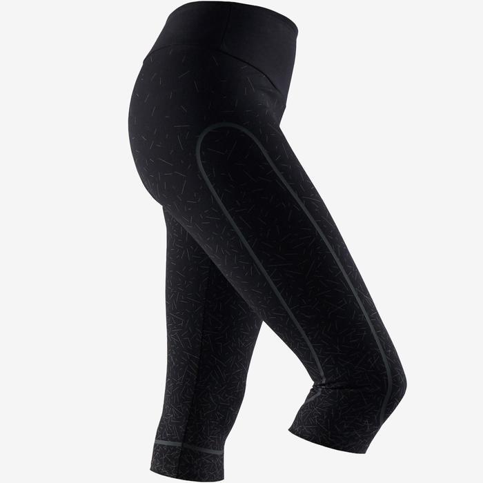 Fitness kuitbroek dames 560 slim fit platte buik modellerend zwart/koper