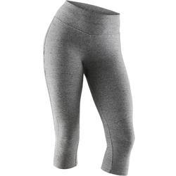 3/4-Hose 520 Slim Pilates sanfte Gymnastik Damen grau meliert