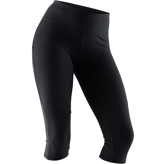520 Women's Slim-Fit Gentle Gym & Pilates Cropped Bottoms - Black