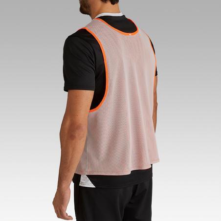 Манишка двухсторонняя для взрослых оранжевая/серая