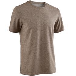 T-shirt 500 regular fit pilates en lichte gym heren gemêleerd bruin