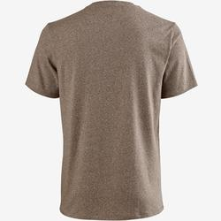 T-Shirt 500 regular Pilates Gym douce homme marron chiné